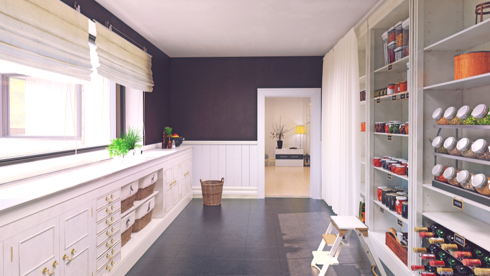 A modern walk-in pantry with custom shelves and racks