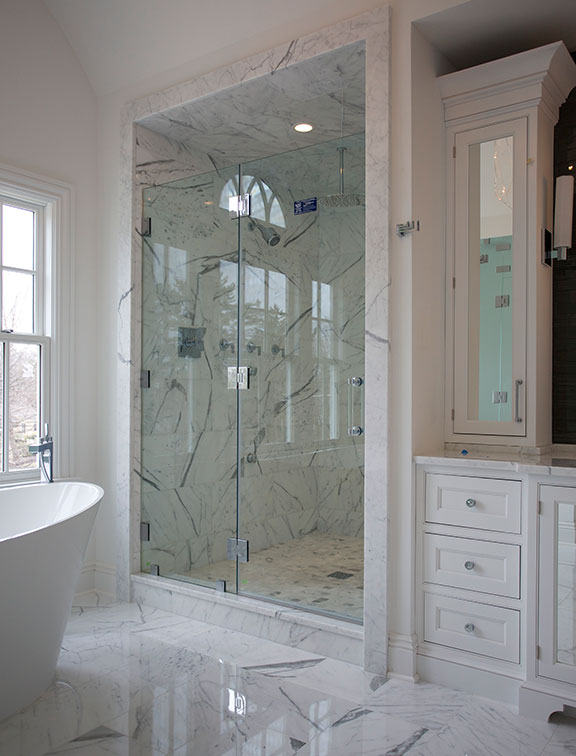 Innovative Closet Designs Bath Solutions offers custom cabinets, shower enclosures, and accessories