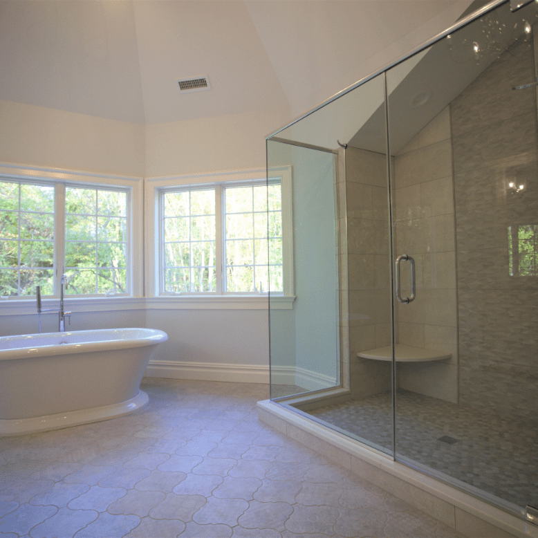 Innovative Closet Designs Bathroom: Frameless Door & Panel Shower Enclosure with Full Height Return, Header, and Pivot Hinges